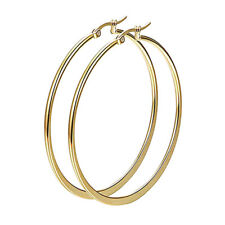 Large Gold Plated Coil Spring Round Flat Hoop Earrings - 60mm D o3dYjGCGQ