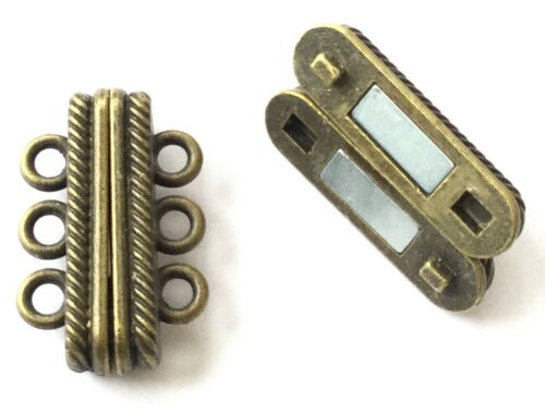 Magnetic Clasp 3-Strand Antique Bronze 2mm Hole-Jewelry Supplies