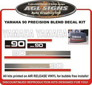 YAMAHA 90 HP Precision Blend Outboard Reproduction Decals 1986 1987 1988 1989