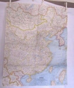 National Geographic Map Of China.1964 National Geographic Map China 19 X 24 Inches Ebay