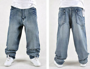 Fashion Cool Mens Hip hops dance Jean trousers Loose fit skateboard school wear
