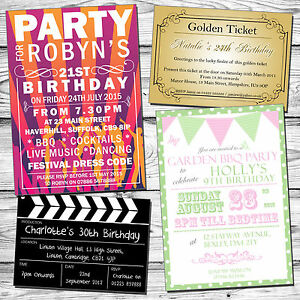 Image Is Loading 10 Printed Party Invites Photo Personalised Adult Childrens
