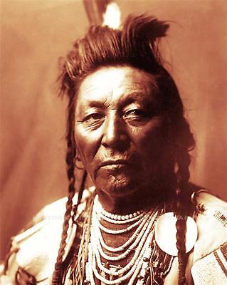 CROW INDIAN CHIEF PLENTY COUPS PHOTO VISIONAREY NATIVE AMERICAN OLD WEST  #21205