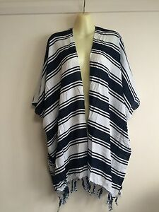 FREE-SIZE-up-to-24-Blue-striped-fringed-hippy-boho-loose-jacket-beach-cover-up