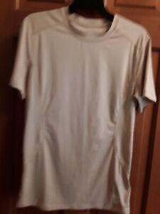 Nike-Pro-Combat-Men-Dri-Fit-Fitted-Short-Sleeve-Shirt-Tan-Size-S-EUC
