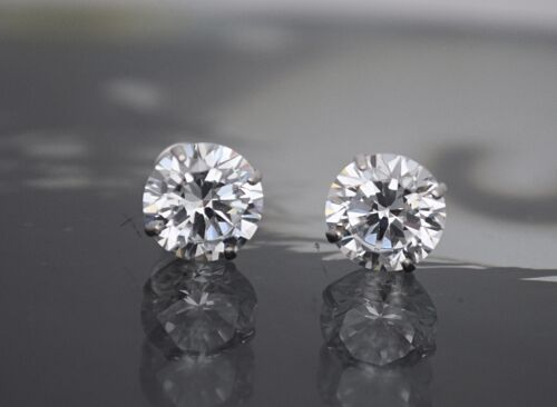 Created Diamond Round Cut Screw Back Stud Earrings 14K White Gold 2TCW