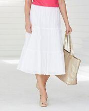 Ladies 'Julipa' Long Line Crinkle Womens Skirt 32ins - WHITE - UK Size 10 - NEW