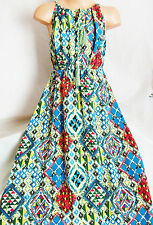 GIRLS VINTAGE BLUE MULTI COLOUR PAISLEY TRIBAL PRINT RAG HEM SUMMER PARTY DRESS