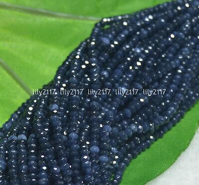 """Nouveau 2x4mm à Facettes Bleu Sapphire abacus Loose Beads Gemstone 15/"""""""