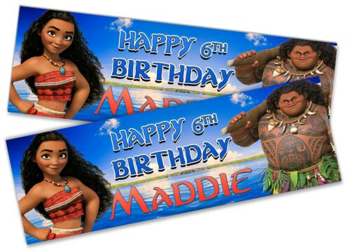 x2 Personalised Birthday Banner Moana Children Kids Party Decoration Poster 10