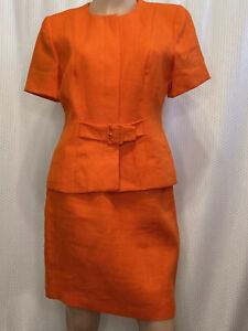 Kelly-Graham-New-York-Vintage-Orange-Skirt-Set-2-Piece-Size-6-Shoulder-Pads