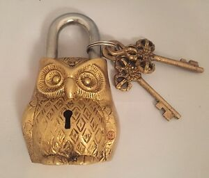 Owl-Head-LOCK-Big-Padlock-brass-keys-Golden-antique-look-Owl-Pad-Vintage-lion