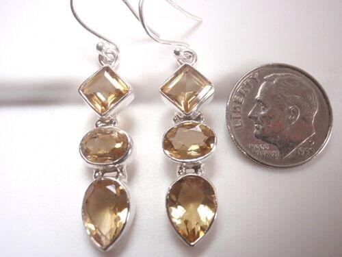 Faceted Citrine Triple-Gem 925 Sterling Silver Dangle Boucles d/'oreilles
