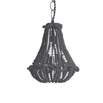 Dark Grey Black Marla Wooden Beaded Chandelier Light Shade Pendant Bombay Duck | eBay