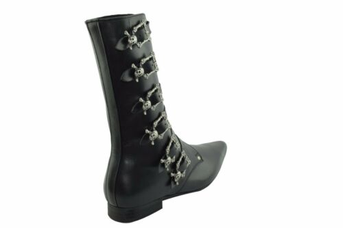 6 Winklepicker Calf Black Buckle Ground Steel Boots Skull Leather Goth Straps 0PgaUw