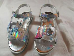 9249a9b2e Details about NWT Girls DISNEY S FROZEN METALLIC SILVER   RHINESTONE HEART SANDALS  size 11 M