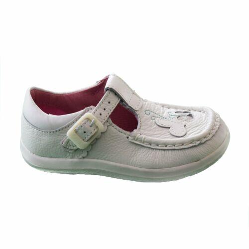 Clarks Infant Girls White Leather T-Bar /'Alana lily FST/'