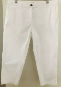 Trenery-Women-039-s-size-12-Pants-White-Capri-Tapered-Leg-Cotton-Blend