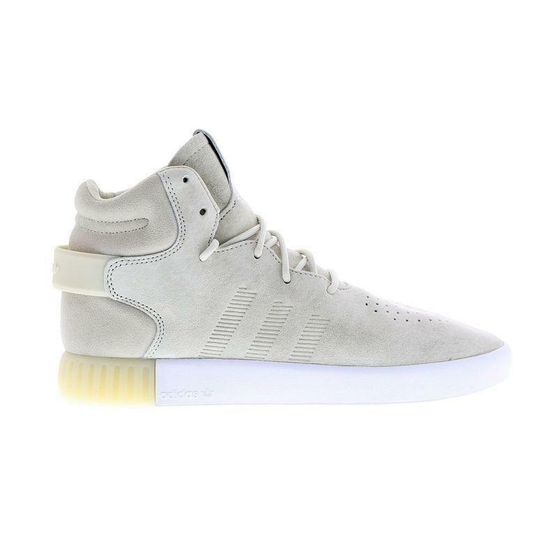 Mens ADIDAS TUBULAR INVADER Talc Suede Hi Top Trainers BA9362