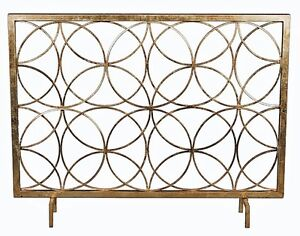 Modern Antique Gold Iron Circles Fireplace Fire Screen Geometric Contemporary | Home & Garden