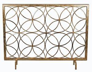 Modern Antique Gold Iron Circles Fireplace Fire Screen Geometric Contemporary Ebay