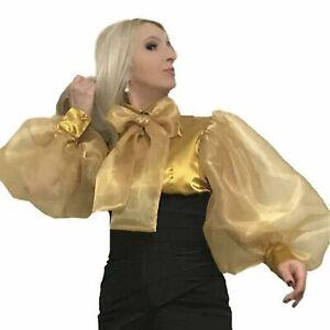 Ballooon Sleeve Satin/&Organza Draped Blouse
