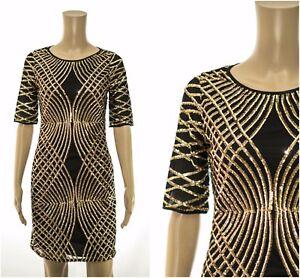 eX-Monsoon-Sequin-Shift-Mini-Dress-Party-Occasion-Races-Black-Gold