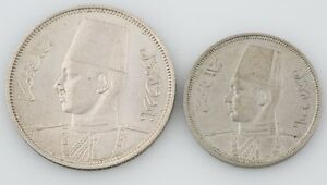 2 Egyptian coins Egypt 1939 5 Piastre 1941 5 Milliemes Almost Uncirculated - XF