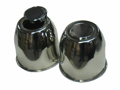 Four (4) 4.25 EZ Lube Stainless Steel Center Caps w/ Removable Plug Push Thru