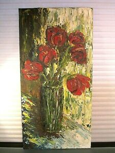 Original-Mid-Century-Modern-Oil-Painting-Still-Life-Flowers-Signed-Nelson-039-74
