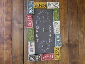 Industrial-Wall-Clock-Rustic-Metal-amp-Colourful-Number-Plates-As-Bezels