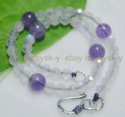 4.1MM NATURAL BLUE FLASH RAINBOW FACETED MOONSTONE ROUND AMETHYST BEAD BRACELETS
