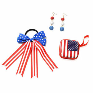 Value-Buy-Red-Blue-USA-National-Flag-Coin-Purse-Bow-Hair-Tie-Dangle-Earrings