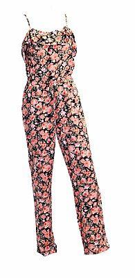 Ladies Womans Jumpsuit Playsuit flower spaghetti strap  size 8 10 12 14 16 18 20