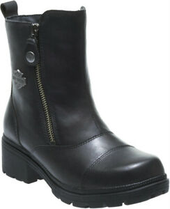HARLEY-DAVIDSON-FOOTWEAR-Women-039-s-Amherst-Black-Leather-Motorcycle-Boots-D84236