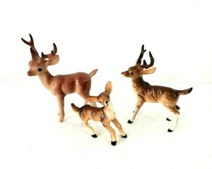 Collectible 3 Porcelain Figurines Minature Deer Family Buck Doe and Fawn