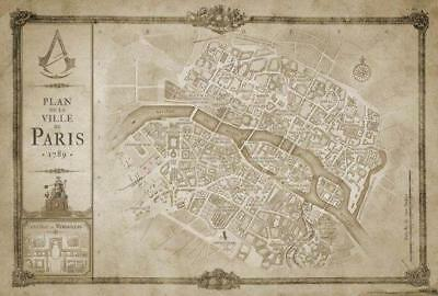 Brand New Ps4 Assassin S Creed Unity Map Cloth Plan De La Ville De
