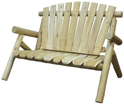 Patio Love Seat Bench White Cedar Outdoor Furniture Chair Weather Resistan