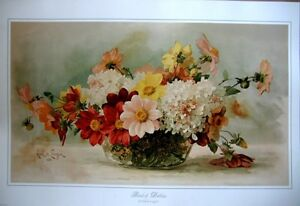 art-print-BOWL-OF-DAHLIAS-Paul-deLongpre-Victorian-flowers-floral-vtg-repr-26x18