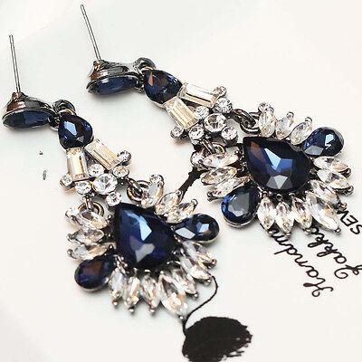 Handmade women gorgeous bib statement  mixed crystal long 6.6cm Earrings e260