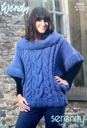 Ladies Cabled Poncho Knitting Pattern Wendy Serenity Super Chunky