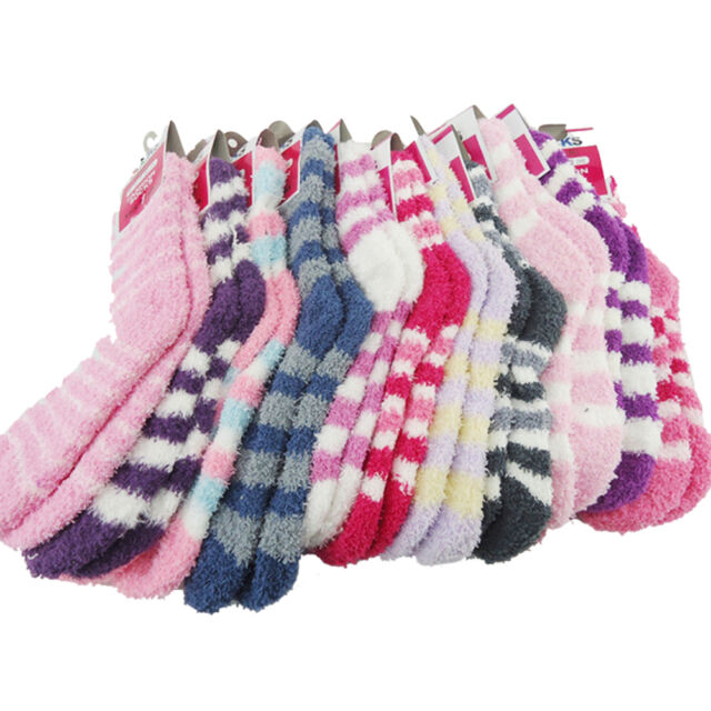 Women Girls Winter Bed Socks Solid Fluffy Warm Soft Thick Home Candy Color MDAU