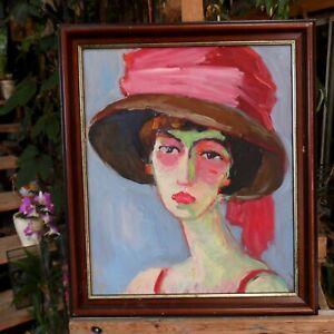tableau-huile-toile-portrait-au-chapeau