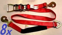 8x Race Car Trailer Tie Down Auto Car Hauler Ratchet Straps With Axle Strap Red