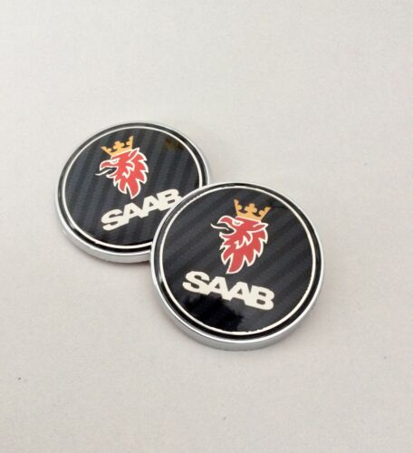 SAAB CARBON BONNET BOOT TRUNK PACK SET 2 BADGE EMBLEM 93 95 9-3 9-5 REPLACEMENT