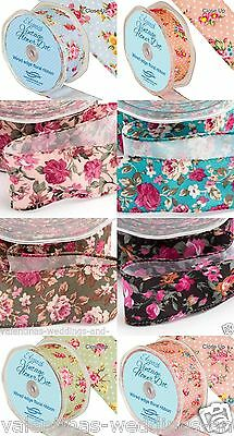 Floral Polka Dot Wire Edge Rose Print Ribbon Crafts 25mm 38mm 1-3m  Full Roll