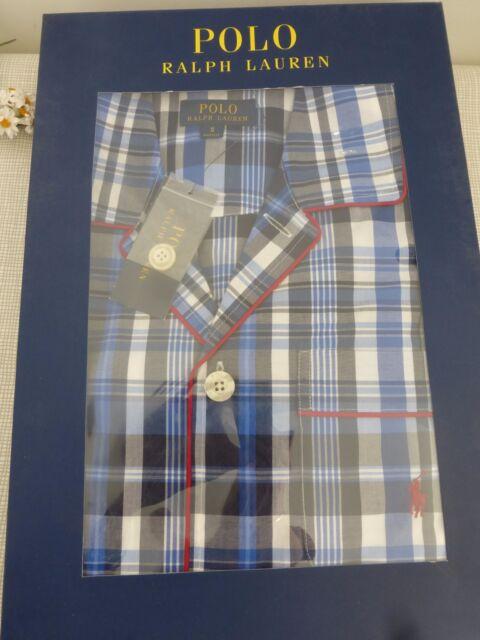 af2e9cbf81 BNWT Polo Ralph Lauren Pyjamas Blue Check Pattern Cotton Pyjama Set size S