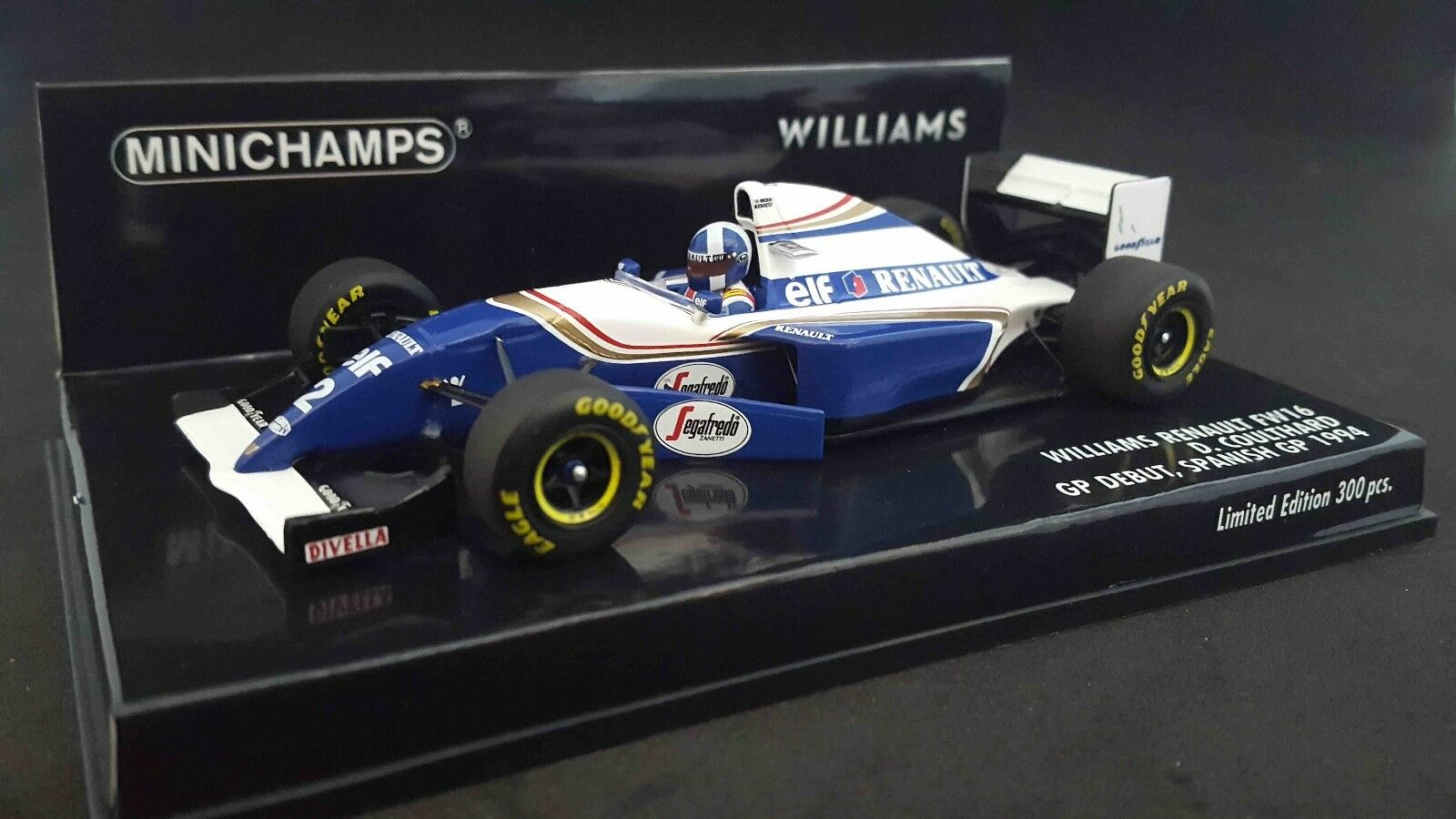 MINICHAMPS 417940802 143 94 Williams FW16 David Coulthard Debut Spain F1 Model