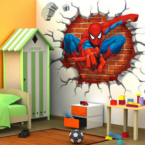 3d spider man wall sticker removeable mural decals poster for Sticker mural 3d