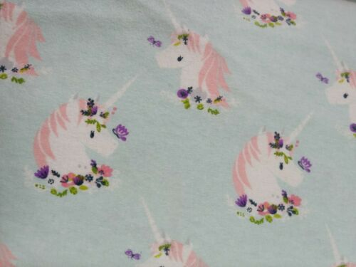 cotton flannel fabric by the half metre Unicorn butterfly flower